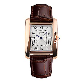 Skmei Beautiful Women's Watch Square Rose Gold Roman Numerals Genuine Leather Strap Brown 1085BR