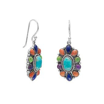 Oxidized 925 Sterling Silver French Wire Earrings Coral Gaspeite Lapis Simulated Turquoise Jewelry Gifts for Women