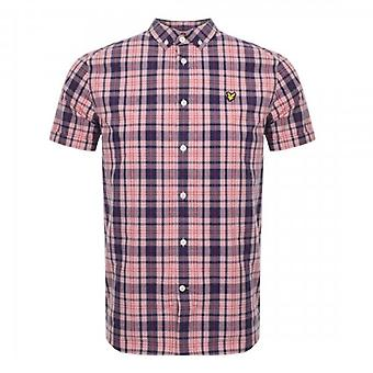 Lyle & Scott Coral Pink Check Shirt Short Sleeve SW800V