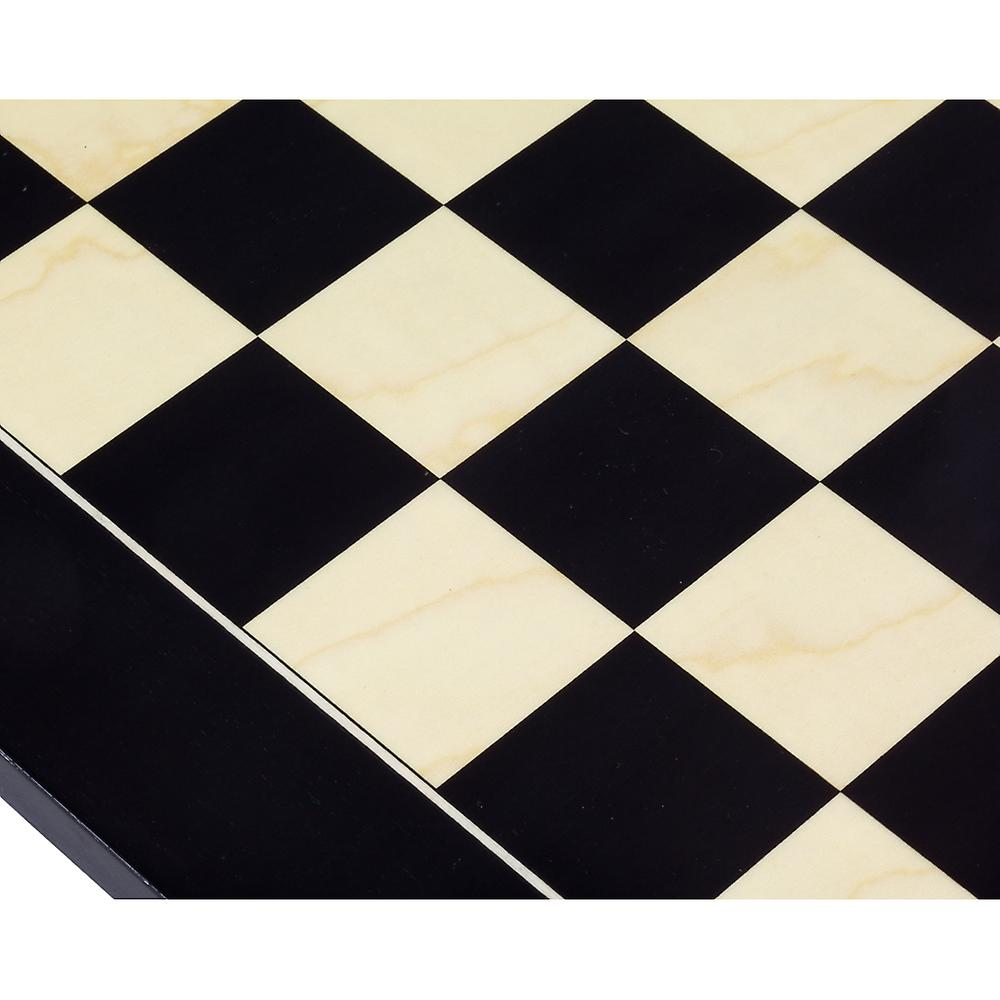 19.7 Inch Lacquered Black Anegre and Maple Deluxe Chess Board