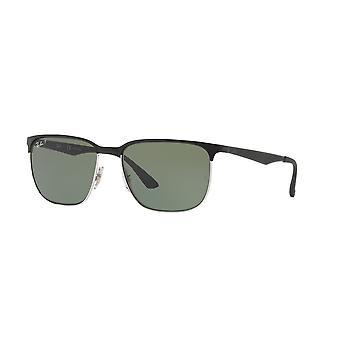 Ray-Ban RB3569 9004/9A Glänsande svart-silver/mörkgröna solglasögon