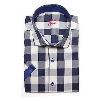 JSS Checked Navy Slim Fit Short Sleeve Shirt