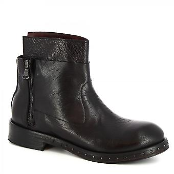 Leonardo Shoes Women's handmade ankle boots black calf leather with side zip