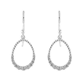 Dew Sterling Silver Open Oval Cubic Zirconia Drop Earrings 6878CZ