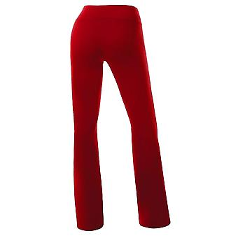 Women's Solid Cotton Spandex Boot Cut High Waisted Flare Yoga Pants Workout C...