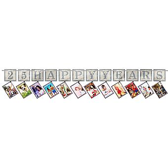 Amscan Silver 25 Year Anniversary Photo Garland