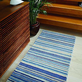 Fine Stripes Modern Wool Hallway Runner In Blue