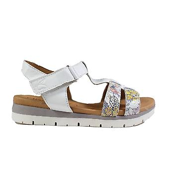 Caprice 28605 White/ Multi Coloured Flower Leather Womens T Bar Sandals
