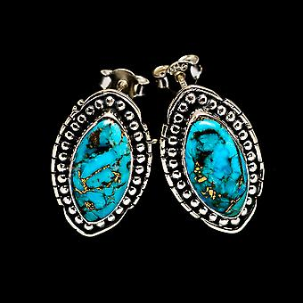 Blue Copper Composite Turquoise Earrings 1