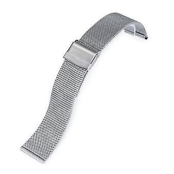 Strapcode watch bracelet 18mm, 20mm or 22mm classic vintage knitted superfine wire mesh band, brushed