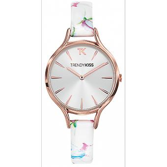 Watch Trendy Kiss TRG10101-03 - Bracelet leather printed Floral dial silver Sun woman