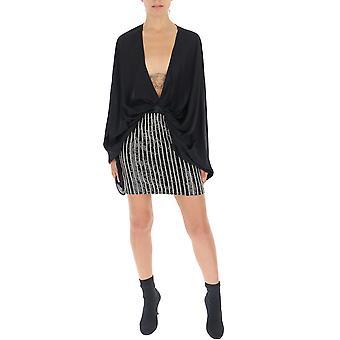 Amen Amw19409089 Frauen's schwarze Baumwollkleid