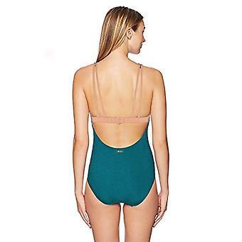Skye Women's Olivia High-Neck One Piece Swimsuit, Rainforest Bedarra Lurex Stripe, Medium