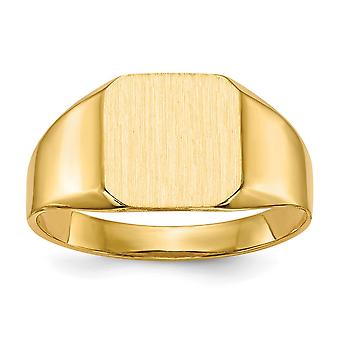 14k Yellow Gold Open back Engravable Mens Signet Ring Size 10 Jewelry Gifts for Men - 3.8 Grams