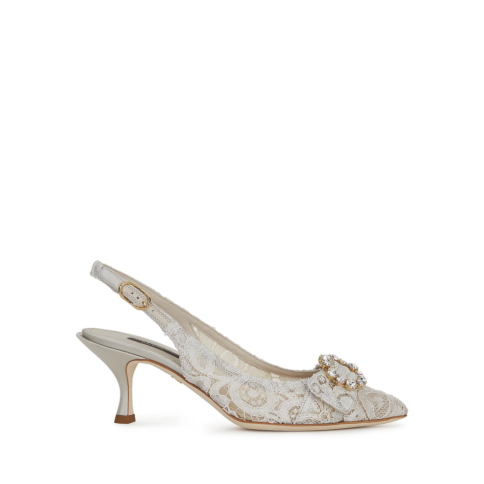 Dolce & Gabbana Pointed Slingback In Openwork Lace And Satin scq7E
