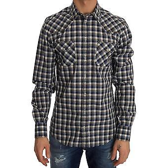 Dolce & Gabbana Blue Gray Check Cotton Slim Fit Shirt