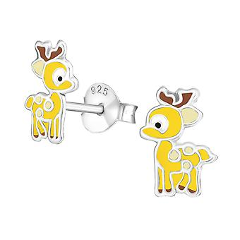 Reindeer - 925 Sterling Silver Colourful Ear Studs - W33521x
