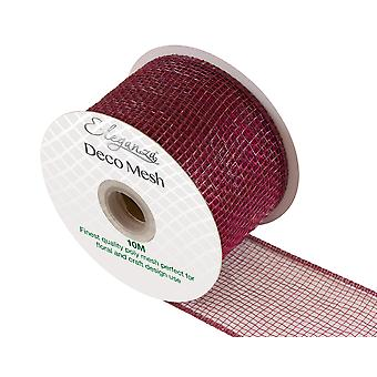 Burgundy 6cm x 10m Deco Mesh Roll for Wreath Making, Floristry & Crafts