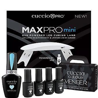 Cuccio Colour Veneer Professional - Kit di Cura Polacca Rainbow Sorbet Gel - Blueberry Sorbet 13ml, Lampada di cura USB & Mini- Set 4
