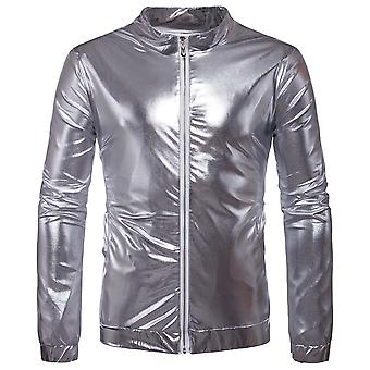 Cloudstyle Men's Jacket Solid Nightclub Shinny Party Bomber Jacket