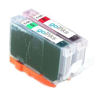 Piros és zöld tintapatronok a Canon CLI-8R és CLI-8G kompatibilis/nem OEM-kompatibilis/nem OEM-k helyére a Go inks (2 festékek)