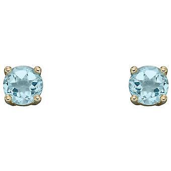 Elements Gold March Birthstone Stud Earrings - Light Blue/Gold
