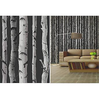 Bosque de árboles de abedul de fina decoración carbón gris característica temática fondos