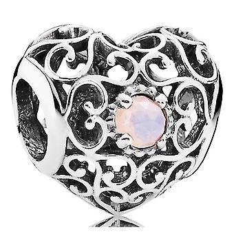 PANDORA Octubre Encanto corazón de autor - Cristal rosa opalescente - 791784NOP