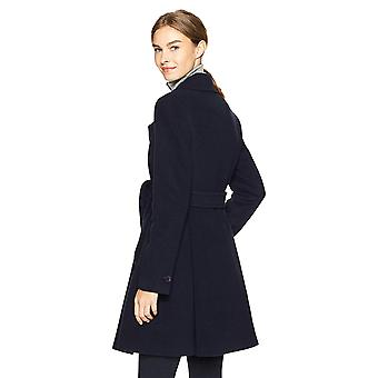 Haven Outerwear Women's Double Breasted Wool Coat with Tie Belt, Navy, Medium
