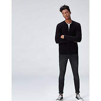 find. Men's Cotton Cardigan Sweater in Bomber Jacket Style, Black, Small