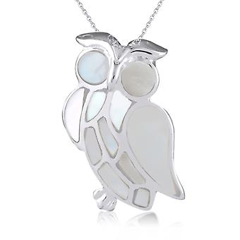 ADEN 925 Sterling Silver White Mother-of-pearl Owl Pendant Necklace (id 3078)