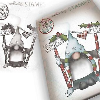 Polkadoodles Gnome Peace & Joy Clear Stamp