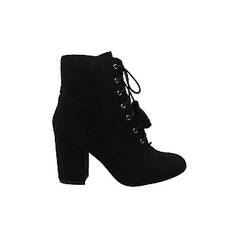 Nature Breeze Women's Closed Toe Lace-Up Tassel Chunky Block Heel Ankle Booti...