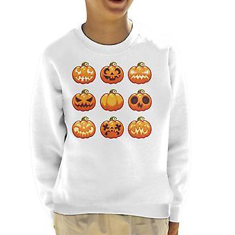 Assortment Of Pumpkin Faces Kid's Sweatshirt