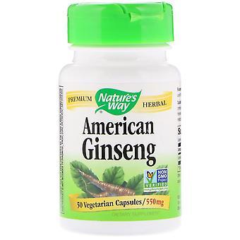 Naturens vei, American Ginseng, 550 mg, 50 Vegetariske kapsler