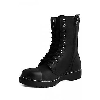 TUK Shoes 1991 Original Steel Toe Matt Black 10-Eye Boot