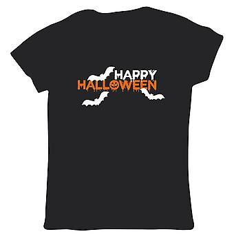 Feliz Halloween Womens T Shirt - Bats Pumpkin Fancy Dress Trick ou Treat Spooky