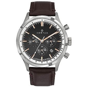Certus Watch 611142 - Bo tier stål sølv lær armbånd menn chronograph