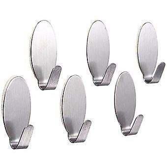 6x Self Adhesive Metal Hook Strong Stick On Wall Hanging Bathroom Kitchen Hanger (6pcs)