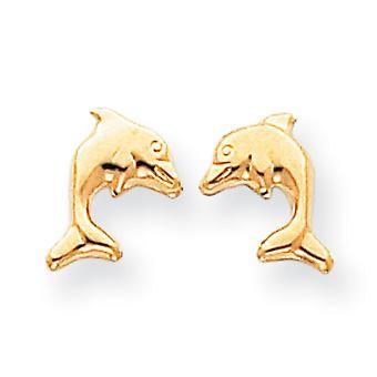 14k זהב צהוב עגילי הפוסט מלוטש עגילי דולפין עגילים 10x9mm תכשיטים מתנות לנשים