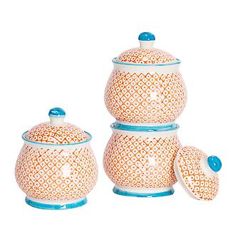 Nicola Spring 3 Piece Hand-Printed Sugar Bowl with Lid Set - Porcelain Kitchen Storage Pots - Orange - 10.5 x 12.5cm