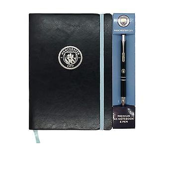 Manchester City Notebook & Pen A5 Executive Premium OFFICIAL Football Gift