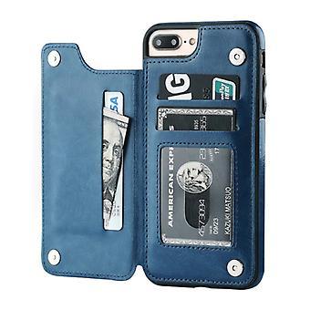 Stuff Certified® Retro iPhone 6 Plus Leather Flip Case Portefeuille - Portefeuille Cover Cas Case Blue