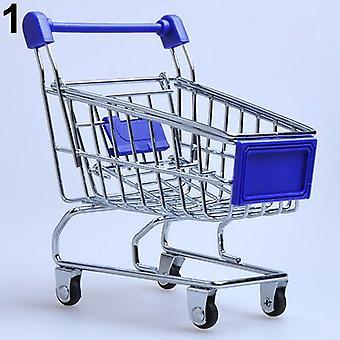 Supermarket käsivaunu, mini ostoskärry, työpöydän sisustus varastointi lelu