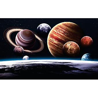 Planetas mural de papel de parede do sistema solar (400x260 cm)