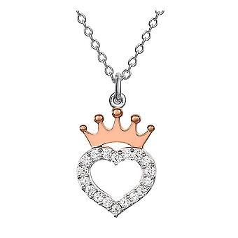 Disney Princess Heart and Crown Sterling Silver Pendant Necklace