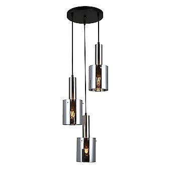 Italux Sardo - Pendentif suspendu moderne Satin Nickel 3 Lumière avec verre, Ombre fumée, E27