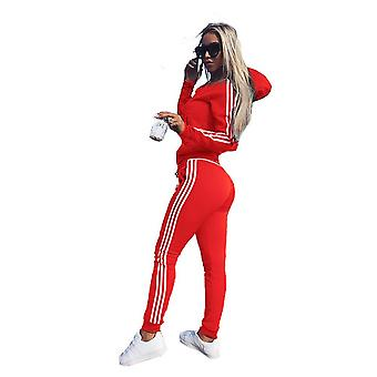 女性 2 PC アスレジャー スポーツ ウェア トラックスーツ パーカー & パンツ セット