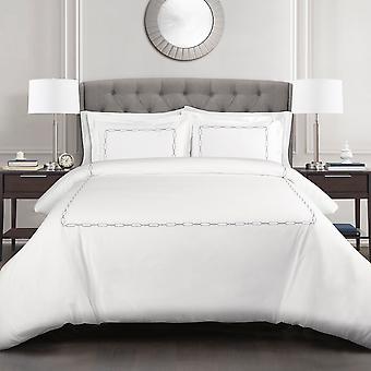 Hotel Geo Duvet Cover Gray 3Pc Set Full/Queen