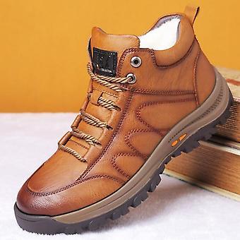 Winter Men's Wolle Pelz Stiefel, Outdoor dick Composite Sohle Casual Schuhe, Rindsleder